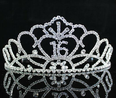 SWEET SIXTEEN 16 RHIESTONE TIARA CROWN WITH HAIR COMBS BIRTHDAY PARTY PROM T1702