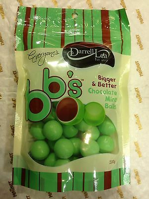 2 X Darrell Lea BB's Chocolate Mint Balls Bigger & Better 200g