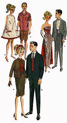 Vintage Doll Clothes PATTERN 2519 for 11.5 in Barbie Ken Annette Andy  by Mattel