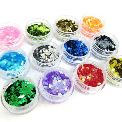 12 Color Hexagon Glitter Chip Decorations For Acrylic Tips Nail Art DIY GEL
