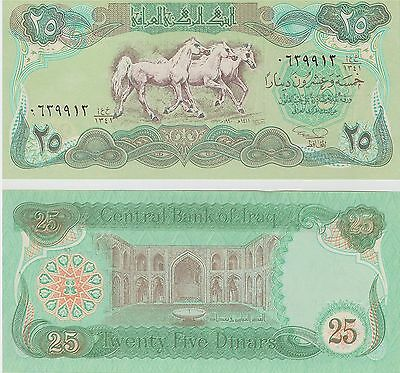 Iraq,  25 Dinars,  Horses,  1990,   P 74,  Unc,  Banknote,  Middle East