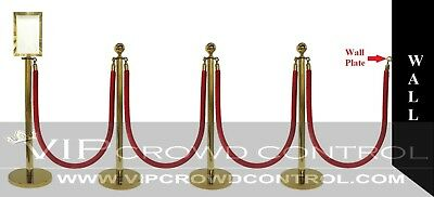 """Rope Stanchion, 10 Pcs Deluxe Set, Crown Top, Gold Polish S.s. 12"""" Flat Base"""