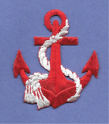 Anchor - Nautical - Red Anchor W/White Rope - Embroidered Iron On Patch
