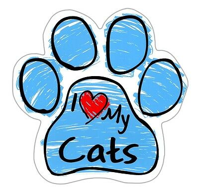 Scribble Paw Cat Magnets: I LOVE MY CATS | Cars, Trucks, Refrigerators