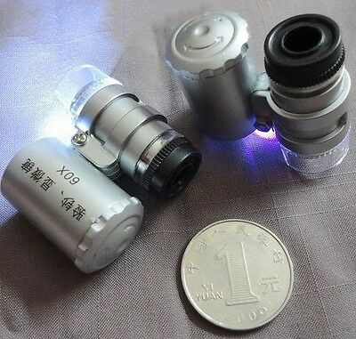 60X Magnifying Magnifier Jeweler Eye Jewelry Loupe Light LED Currency Detecting