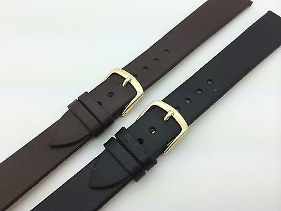 18mm LONG Black Brown Hadley Roma Genuine Calfskin Leather Watch Band MS702