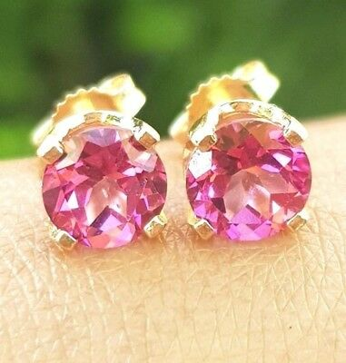 3.05ct VS Genuine Pink Topaz 14K 14KT Solid Gold Stud Earrings FREE SHIPPING