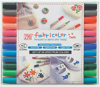 NEW Fabric Markers Zig Fabricolor Twin dual tip-24 colours permanent after iron