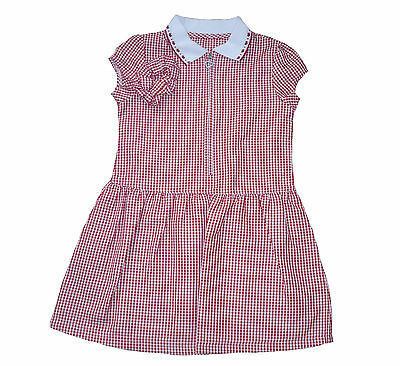 Girls School Summer  Dress Red Gingham & Scrunchie 3 To 13 Years