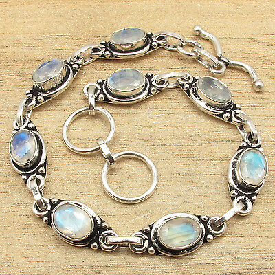 8 Inches Fire MOONSTONE Gems Fashionable Bracelet ! 925 Sterling Silver Plated