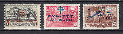 GREECE CHARITY 1944 Stamps of 1942 Landscapes with overprint MNH (Vl.C84/86)