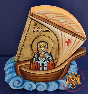Orthodox Icon St. Nicholas In Ship Hand Painted Ikone Hlg. Nikolaus im Schiff