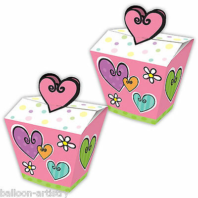 8 Garden Hearts Flowers Pink Birthday Gift Loot Party Favour Boxes