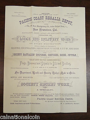 Pacific Coast Regalia Depot Advertising Flyer and Hand Addressed Envelope 1880s