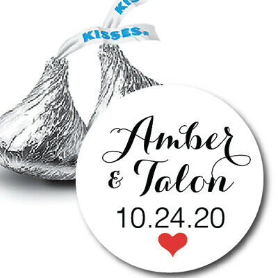 108 Names and Wedding Date with Heart Hershey Kiss Labels Stickers Favors