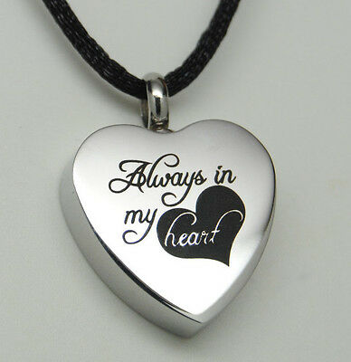 Always in my Heart Cremation Jewelry Silver Heart Urn Necklace Memorial Keepsake