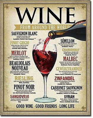 Wine From Around The World metal sign   (de)