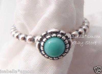 95d29e14d DECEMBER BIRTHDAY BLOOMS Authentic PANDORA Silver/TURQUOISE Stone RING 7/54  NEW