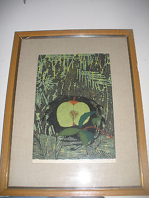LISTED ARTIST JAPAN TAMAMI SHIMA 1961 Original PENCIL SIGN Woodblock Print