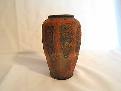 Vintage Tokanabe-Style Pottery Vase Matte Black and Red Circa 1940's