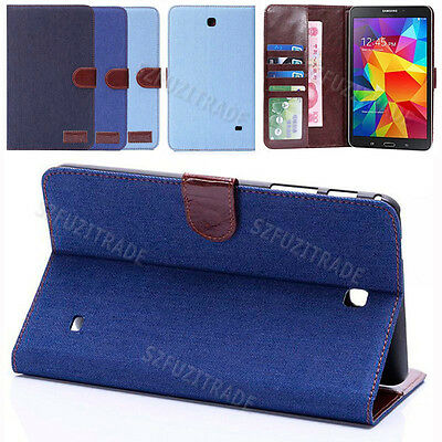 """Card Slot Stand Folio Cowboy Leather Case Cover For Samsung Galaxy Tab 8.0"""" T330"""