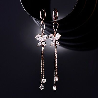 Vintage Womens Jewelry 18k Rose Gold Filled Sapphire Crystal Butterfly Earrings