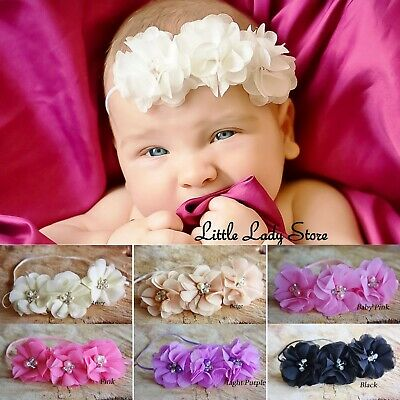Baby Girl Headband Hair Band Chiffon Flower Rhinestone Pearl Christening Wedding