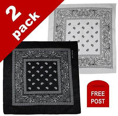 2 Pack Paisley Bandanas 100% Cotton Head Wrap Scarf Wristband New Black White