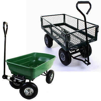 Outdoor Garden Heavy Duty 4 Wheel Trolley Cart Wheelbarrow Dump Truck Tipper NEW