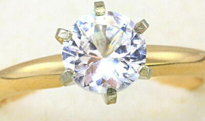 3.37ct Real White Sapphire Solitaire 14K 14KT Solid White Gold Engagement Ring