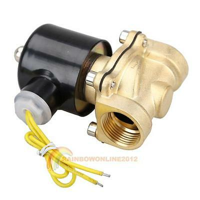 AC 110V 3/4 Inch Brass Electric Solenoid Valve Water Air Fuels N/C 2W-200-20 New