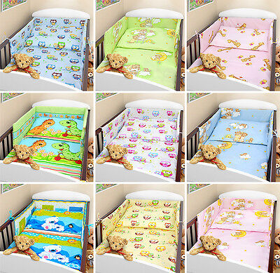 BABY BEDDING SET 3 pc piece COT QUILT DUVET PILLOW CASE COVER BUMPER - STRAIGHT