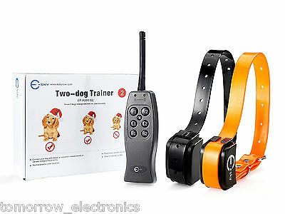 New 2 Rechargeable Remote Control Electric Shock Vibrate Dog Training Collar