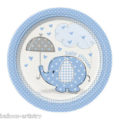 "8 x Boy's BLUE ELEPHANT New Baby Shower Party Small 7"" Disposable Paper Plates"