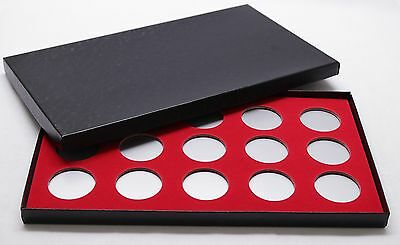 BOX FOR COINS IN AIRTITE CAPSULE HOLDER for SILVER DOLLARS, 15 H RED FELT