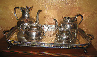 ANTIQUE MARTIN HALL SILVER TEA COFFEE SET, AND TRAY MAKER UNKNOWN