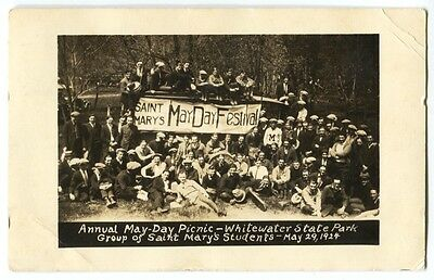 1924 Annual May-Day Picnic Whitewater State Park Minnesota Photo Postcard RPPC