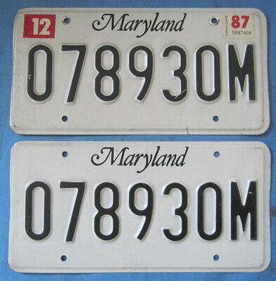 1987 Maryland License Plates matched pair