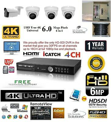 4CH Security Network DVR HD-SDI System Package 2TB HD 3 Indoor 1 Outdoor Camera