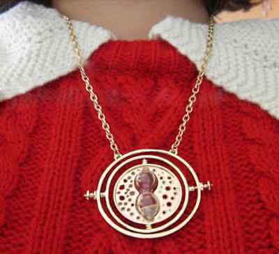Harry Potter Time Turner Rotating Spins Gold Hourglass Necklace Hermione Granger