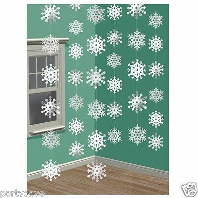 Snowflake decorations Swirl Hanging Foil Frozen Party Christmas Winter grotto