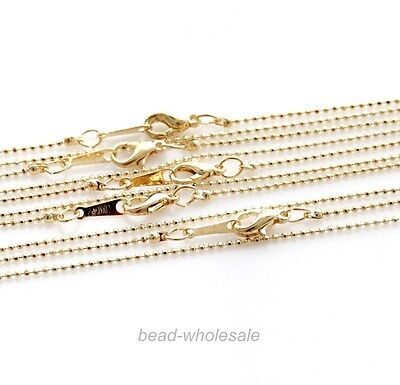 10pcs Mini Ball Linked Copper Necklace Chain Gold/Nickel Tone Findings 1.5mm