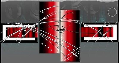 """LARGE RED BLACK WHITE ABSTRACT CANVAS ARTWORK PICTURE 57"""" (146 cm) No Frames"""