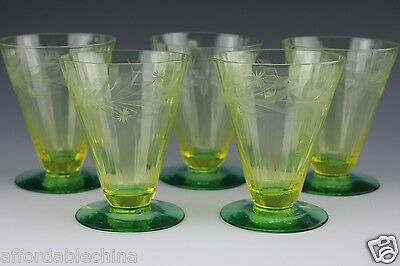 5 Bi-Color Two-Tone Green Vaseline Yellow Utility Cut Floral Glass Stems