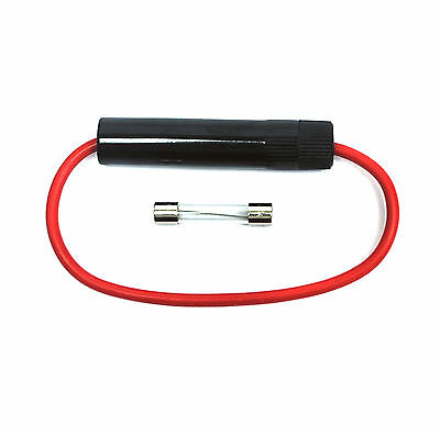 5set Car Motorcycle Fuse Holder FH-202 Fuse=φ6.3x32mm 15A 250V Wire=14AWG L=15cm