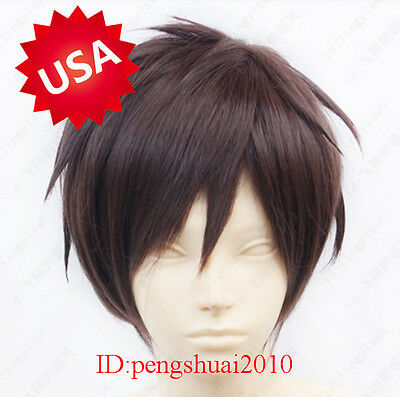 Attack On Titan Eren Jaeger Short Brown Cosplay Full Hair Wig/Wigs Free shipping