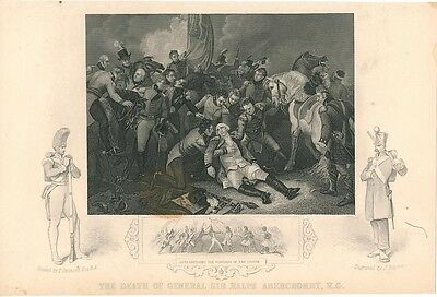 Death of General Ralph Abercromby c.1860 antique engraved historical view