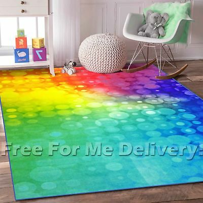 WHIZZ KIDS RAINBOW BUBBLE COLOURFUL FUN FLOOR RUG (S) 120x160cm *FREE DELIVERY