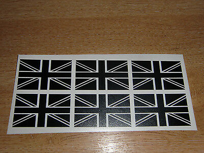 "set of 6 union jack flag stickers (black & white) -  2"" wide decals"