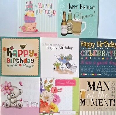 Pack of 8 Male Female Birthday Greeting Cards For Him Her